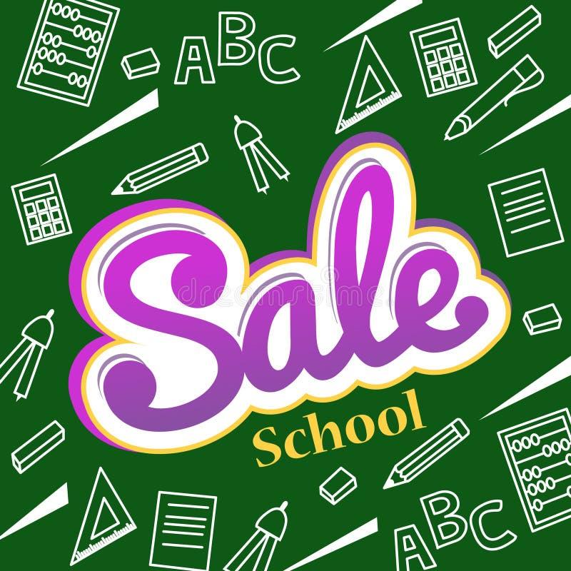 Wektorowy sztandar z powrotem szkoły sprzedaż Ulotka i sztandar z colorfu ilustracji