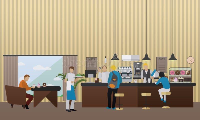 Wektorowy sztandar z restauracyjnym wnętrzem Ludzie ma lunch w kawiarni i barze ilustracja wektor