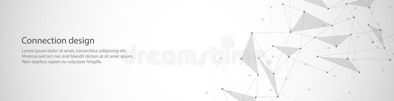 Wektorowy sztandaru projekt, globalny związek z liniami i kropki, Cyfrowego geometryczny abstrakcjonistyczny tło royalty ilustracja