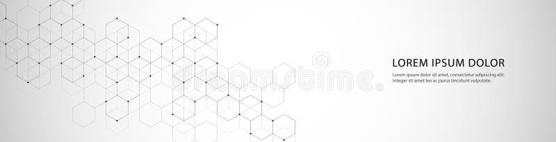Wektorowy sztandaru projekt z sześciokąta abstrakta tłem royalty ilustracja