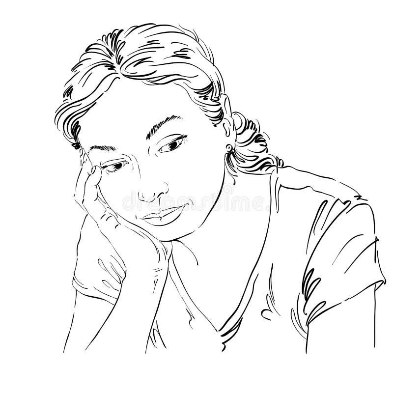 Wektorowy sztuka rysunek, portret smutna i przygnębiona dziewczyna, myśleć ilustracji