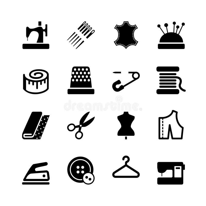 Wektorowy szwalny wyposażenia i uszycia ikony set ilustracji
