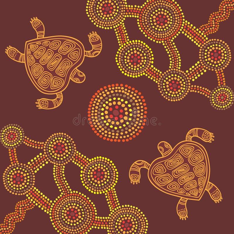 Wektorowy tło aborygenu stylu projekt z żółwiami royalty ilustracja