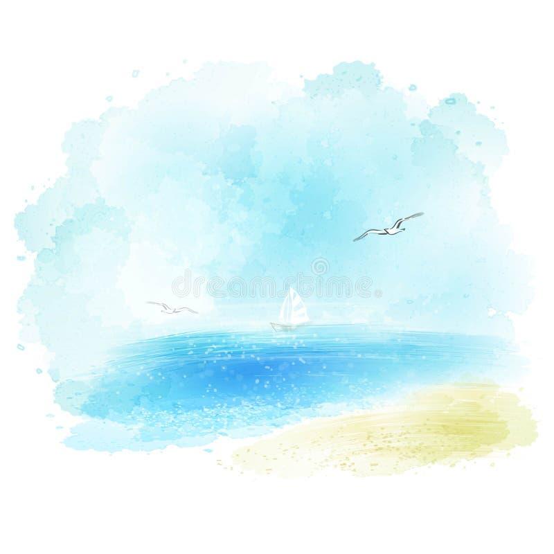Wektorowy tło akwareli seascape ilustracja wektor