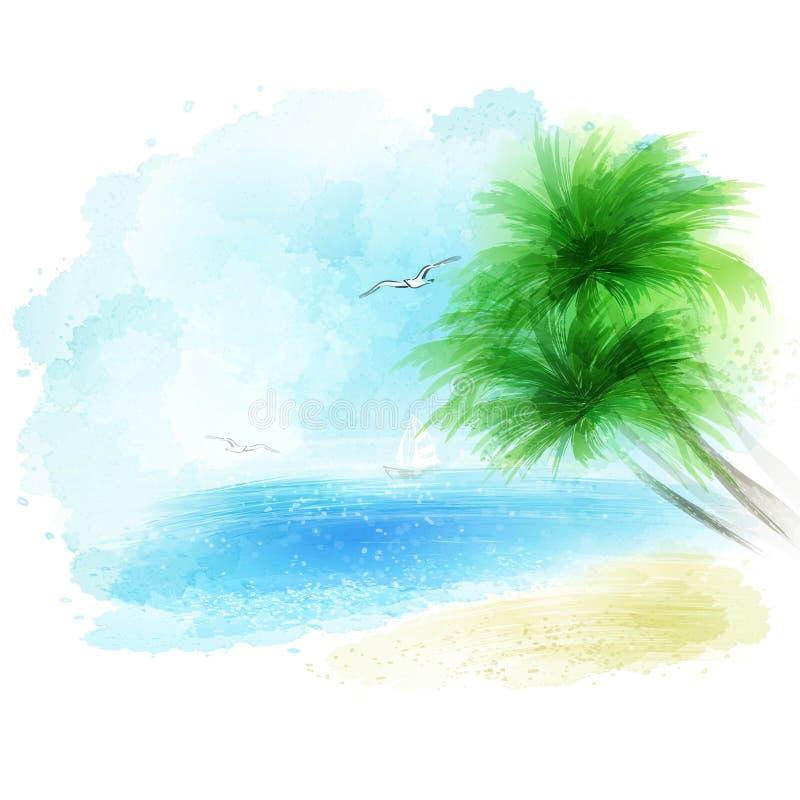 Wektorowy tło akwareli seascape royalty ilustracja