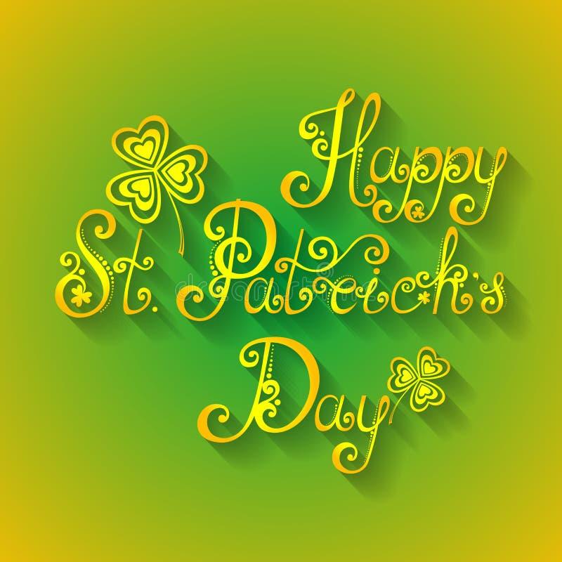 Wektorowy tło dla St Patrick dnia, Wakacyjny literowanie ilustracja wektor