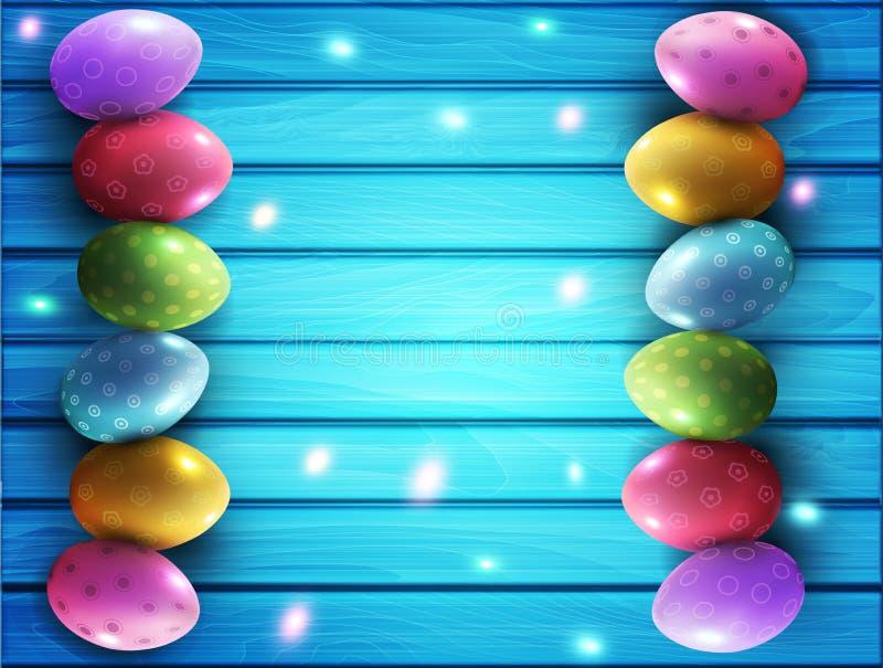 Wektorowy tło dla wielkanocy Barwioni jajka kłama na błękicie ilustracji