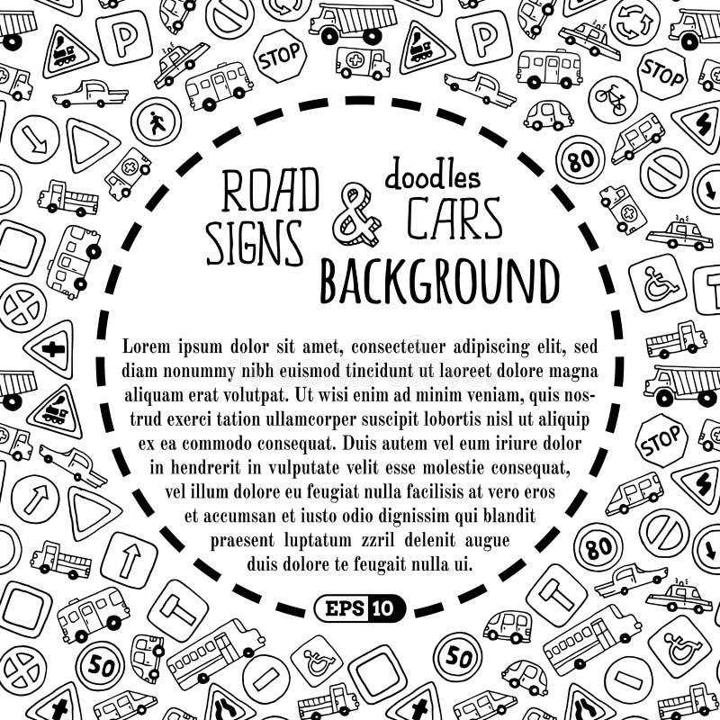 Wektorowy tło doodles drogowi znaki samochody i royalty ilustracja