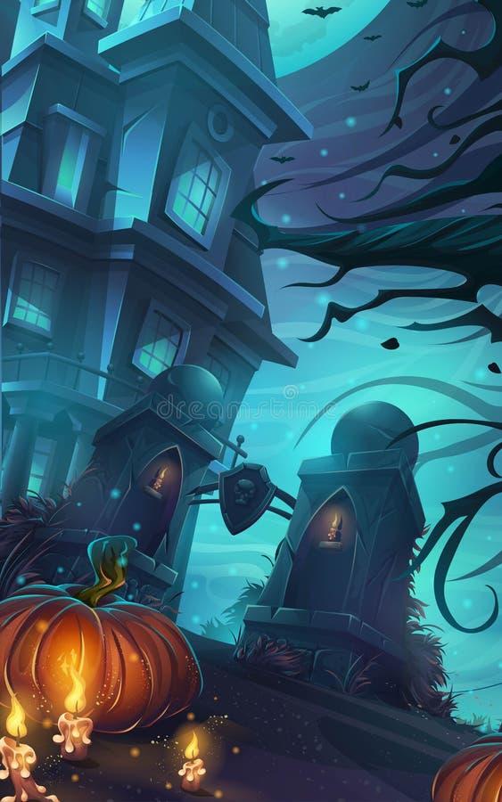 Wektorowy tło okropny Halloween ilustracja wektor