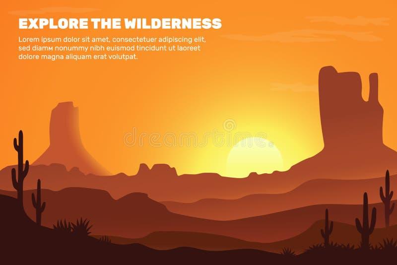 Wektorowy tło pustynia, składa się słońce, piasek, góry i kaktusa, - wektor ilustracji