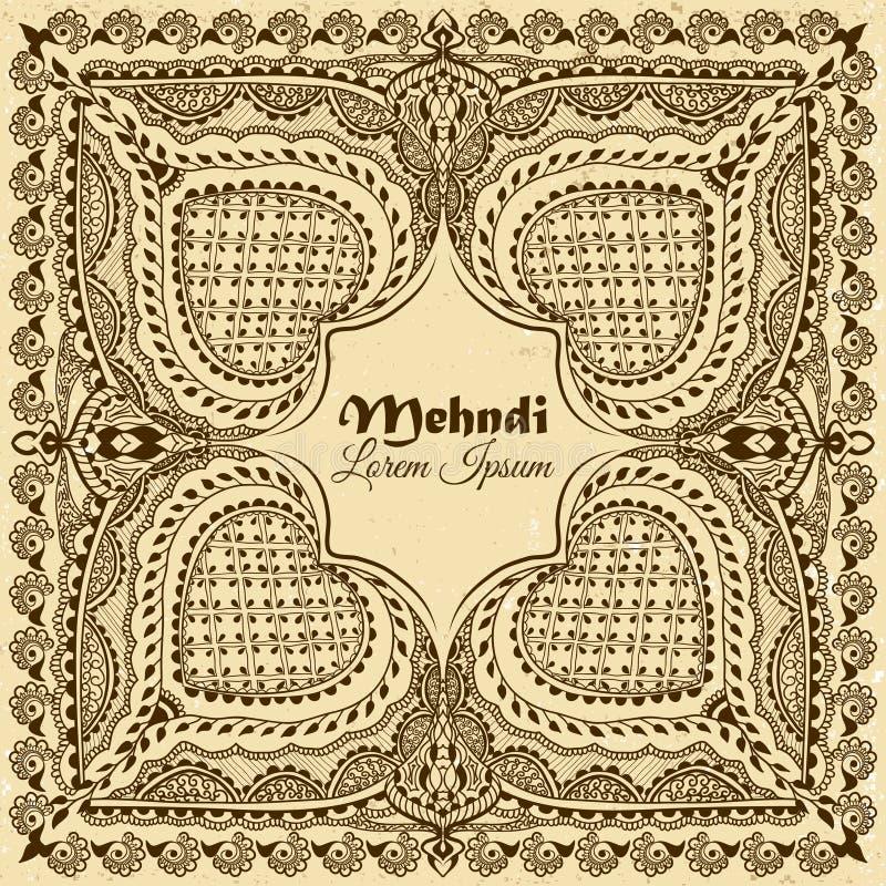Wektorowy tło w indyjskim ornamentacyjnym stylu Mehndi kwiecisty ornament Ręka rysujący etniczny wzór ilustracja wektor
