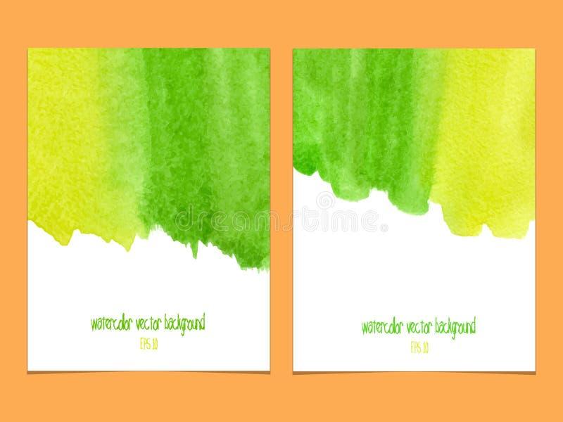 Wektorowy tło z akwareli zielenią i kolorem żółtym royalty ilustracja