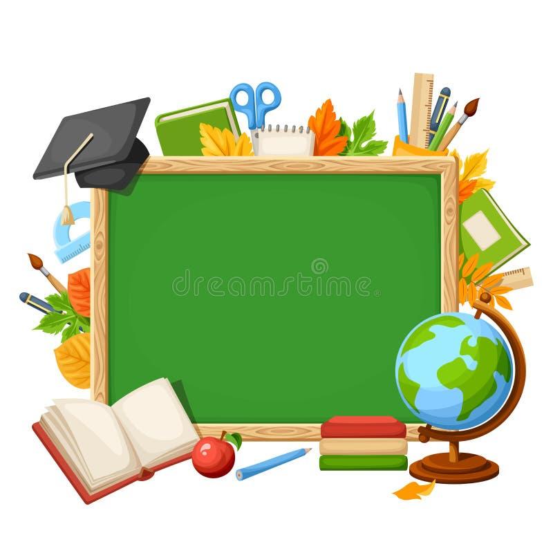 Wektorowy tło z chalkboard i szkolnymi dostawami ilustracji
