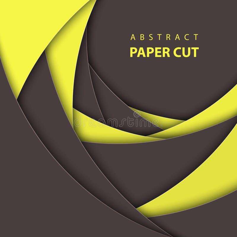 Wektorowy tło z czernią i żółtym koloru papieru cięciem kształtuje royalty ilustracja