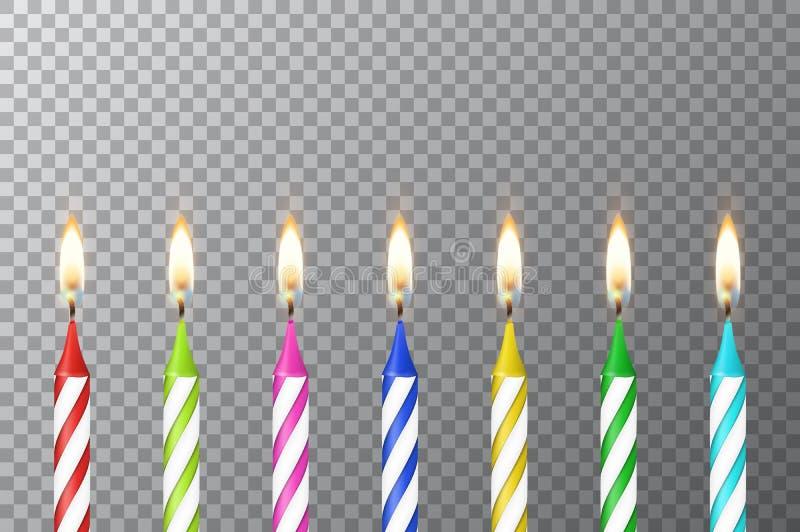 Wektorowy tło z 3d przyjęcia urodzinowego wosku parafiny palenia torta realistycznej różnej colofful świeczki ustalonym zbliżenie royalty ilustracja