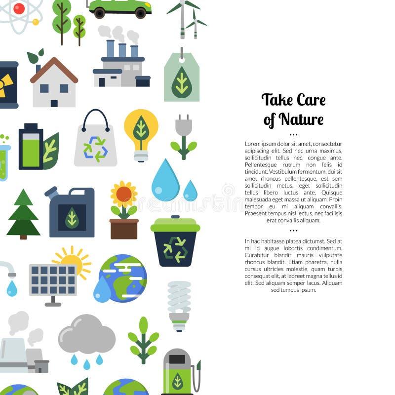Wektorowy tło z ekologii mieszkania ikonami ilustracji