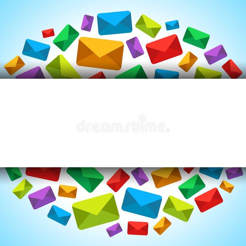 Wektorowy tło z email ikonami i miejsce dla teksta royalty ilustracja