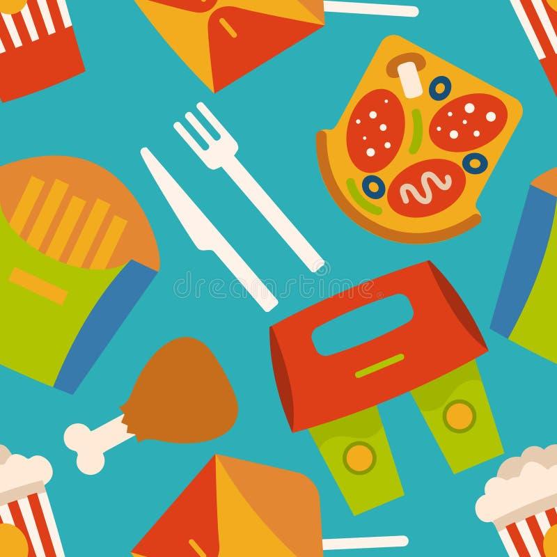 Wektorowy tło z fastów food symbolami Menu wzór ilustracji
