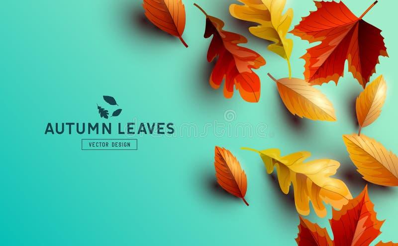 Wektorowy tło Z jesień Złotymi liśćmi ilustracja wektor