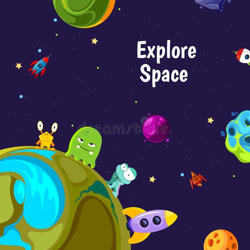 Wektorowy tło z kreskówki przestrzenią planetuje i statki ilustracji
