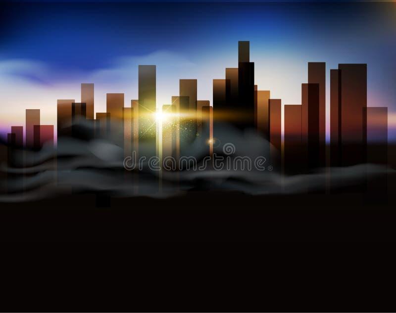 Wektorowy tło z miastowym krajobrazem (budynki i wschód słońca) royalty ilustracja