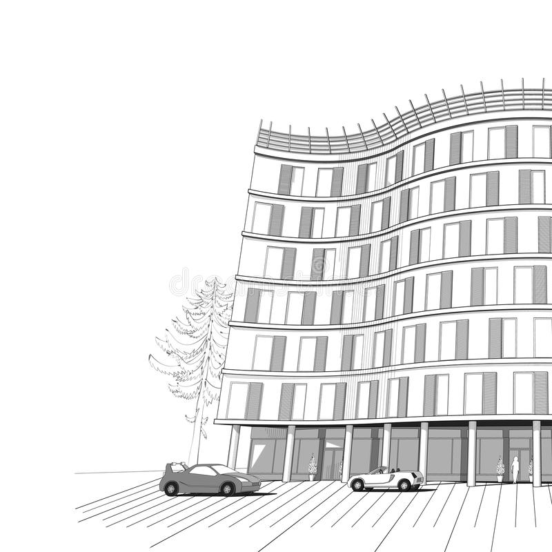 Wektorowy tło z nowożytnym mieszkaniem lub biurem  ilustracji