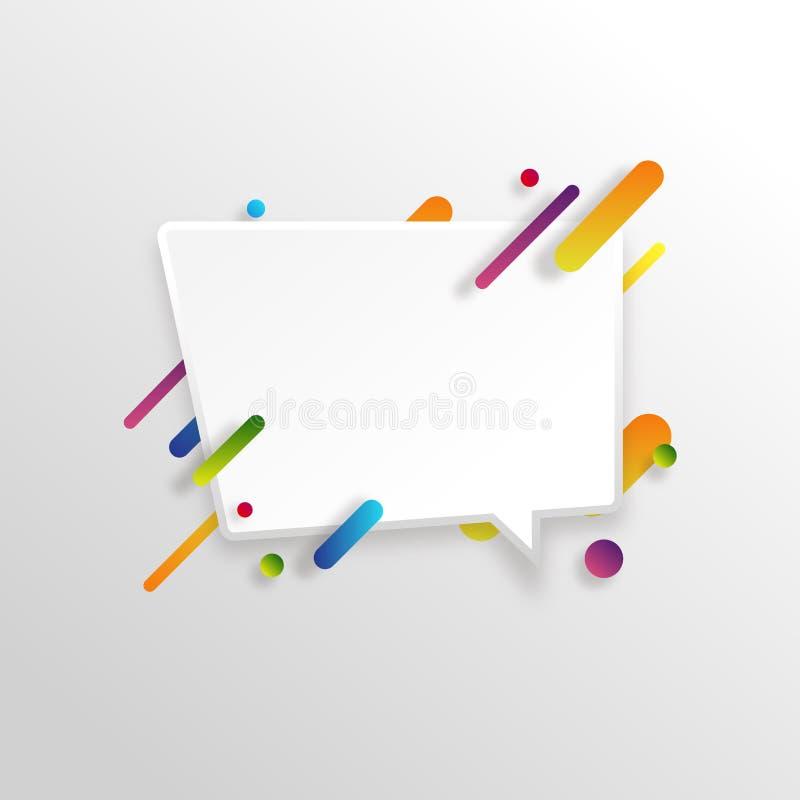 Wektorowy tło z papierową kartą i abstrakcjonistycznymi kolorowymi kształtami ilustracji