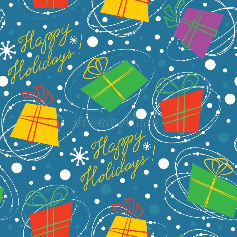 Wektorowy tło z prezentów pudełkami płatki śniegu i pisać list Happ, royalty ilustracja