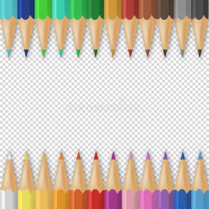 Wektorowy tło z realistycznymi 3D drewnianymi kolorowymi barwionymi ołówkami lub kredkami na przezroczystości siatki tle z royalty ilustracja