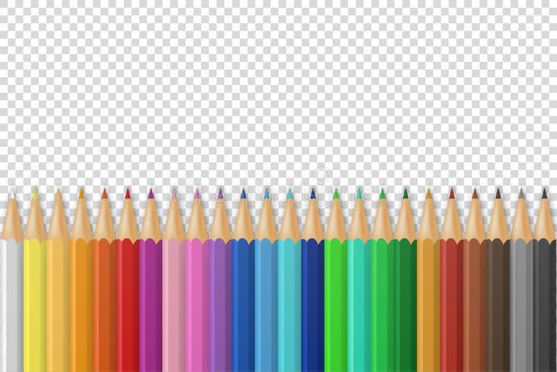 Wektorowy tło z realistycznymi 3D drewnianymi kolorowymi barwionymi ołówkami lub kredkami na przezroczystości siatki tle z ilustracja wektor