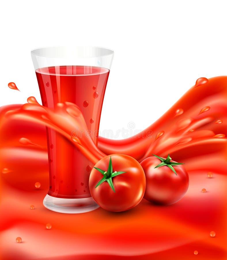 Wektorowy tło z szkłem pomidorowy sok, pomidor Rewolucjonistka juic royalty ilustracja