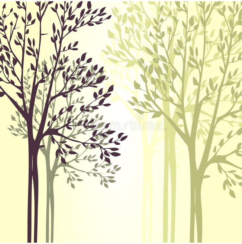 Wektorowy tło z wiosen drzewami royalty ilustracja
