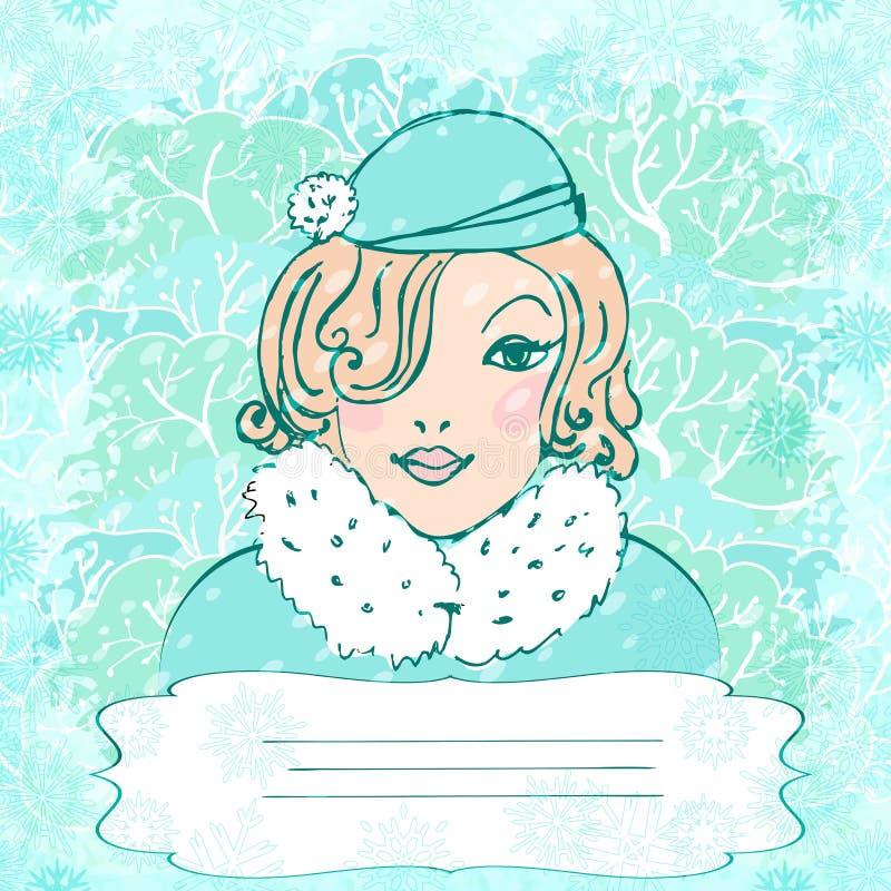 Wektorowy tło z zimy winietą i dziewczyną ilustracja wektor