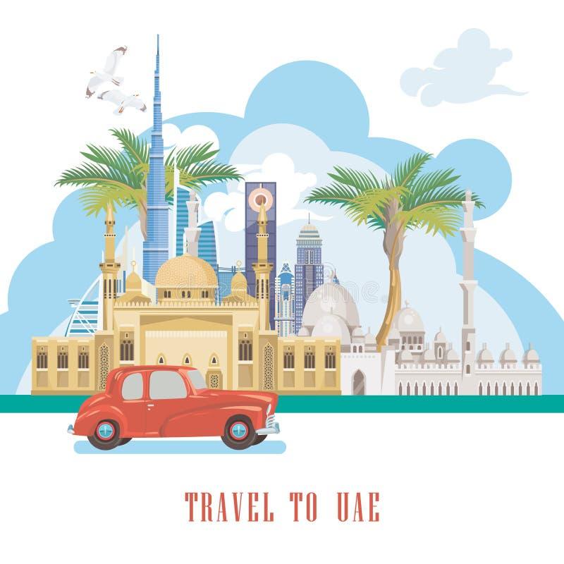 Wektorowy tło Zjednoczone Emiraty Arabskie Podróż Dubai UAE ulotka z nowożytnymi budynkami i meczet w świetle projektujemy ilustracja wektor