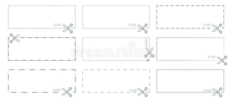 Wektorowy Talonowy szablon z cięciem out ciskającym, kropkować liniami lub nożyce strzała pokazuje cięcie linie ilustracja wektor