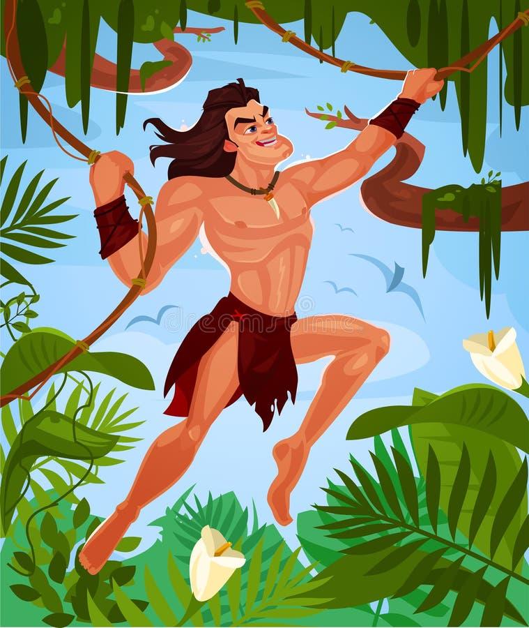 Wektorowy Tarzan chlanie na winogradach royalty ilustracja