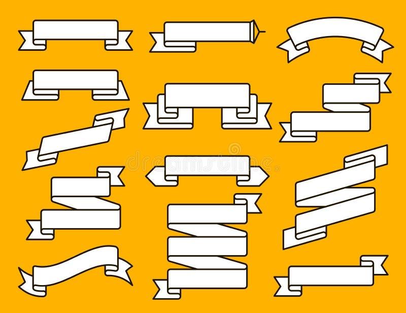 Wektorowy tasiemkowy mieszkanie linii set Kolekcja różni tasiemkowi sztandary Rocznik projektujący odznaka szablon i faborki ilustracja wektor