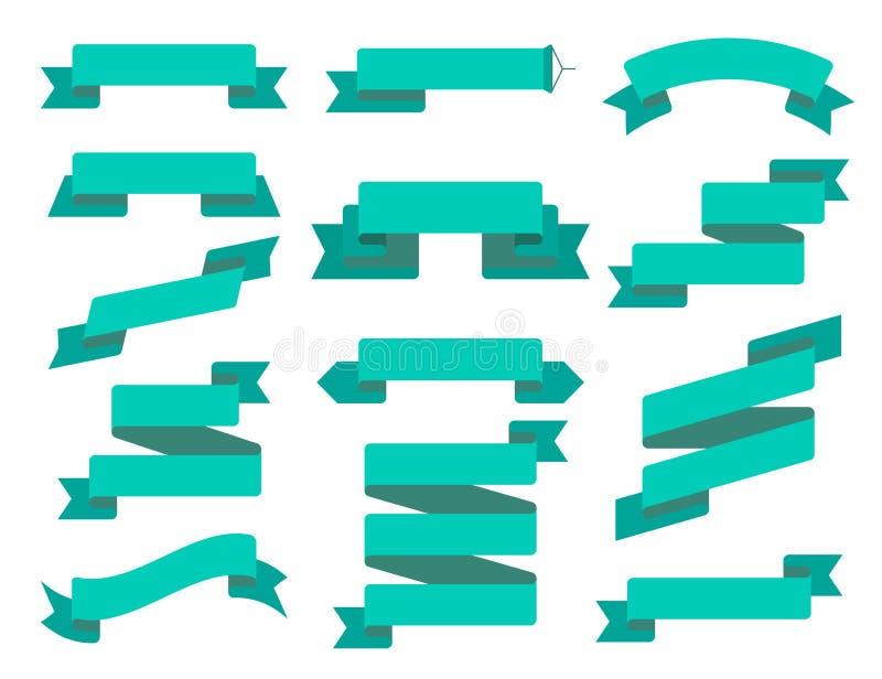 Wektorowy tasiemkowy mieszkanie set Kolekcja różni tasiemkowi sztandary Rocznik projektujący odznaka szablon i faborki dekoracyjn royalty ilustracja