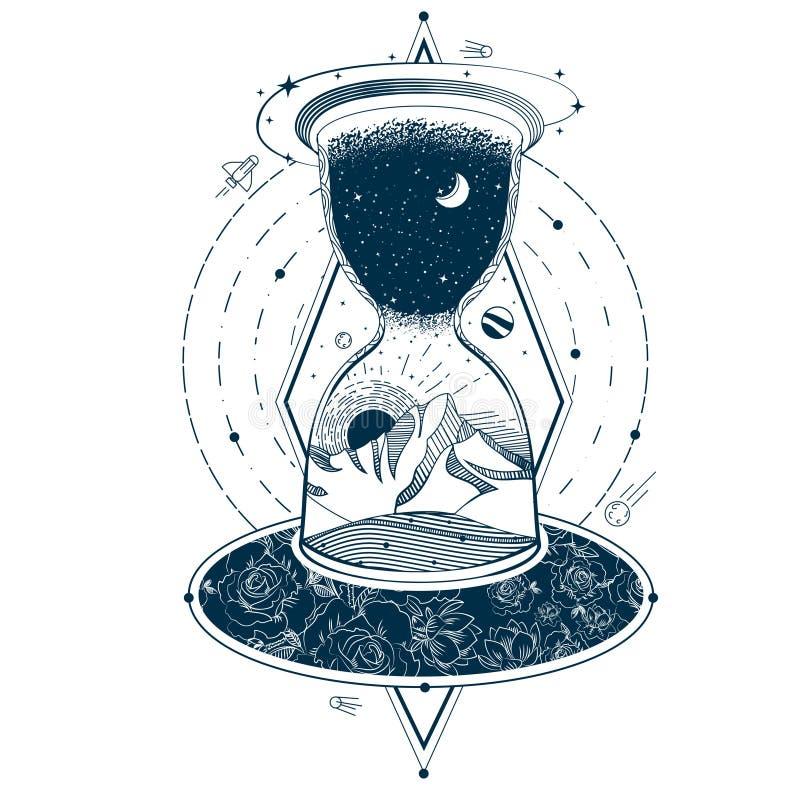 Wektorowy tatuaż z hourglass ogradza niebo i ziemię przeciw tłu nieskończony wszechświat ilustracji