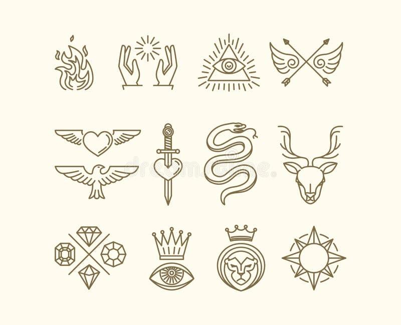 Wektorowy tatuażu set ilustracja wektor