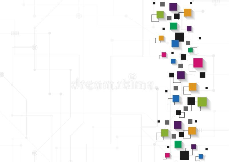 Wektorowy technologii pojęcie Związane linie i kwadraty royalty ilustracja