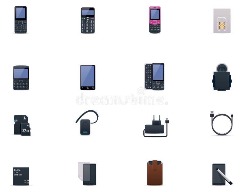 Wektorowy telefon komórkowy i akcesoriów ikony set ilustracji
