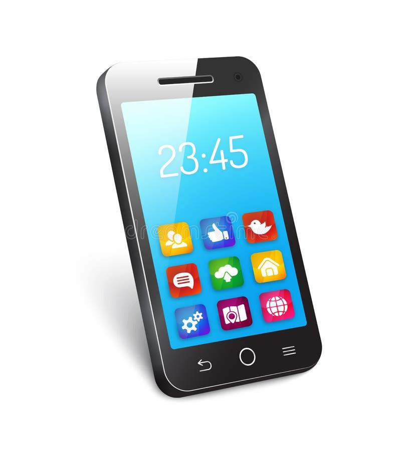 Wektorowy telefon komórkowy lub smartphone ilustracja wektor