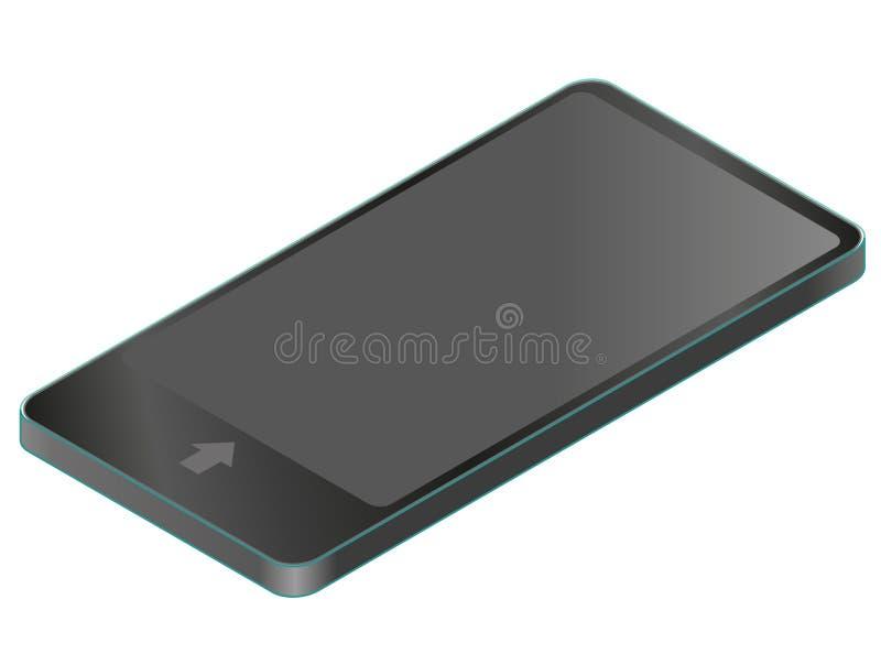 Wektorowy telefon komórkowy w isometric perspektywie Technologia bezprzewodowa, czarny smartphone, cyfrowa pastylka royalty ilustracja