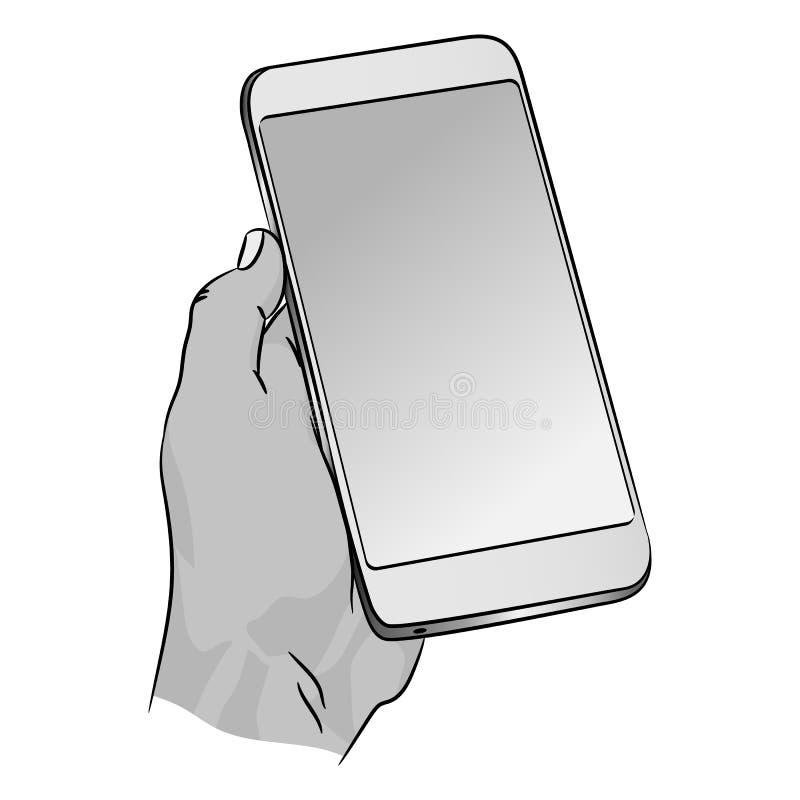 Wektorowy telefon w ludzkiej ręce Mądrze dorosły smartphone z pustym zmroku ekranem royalty ilustracja