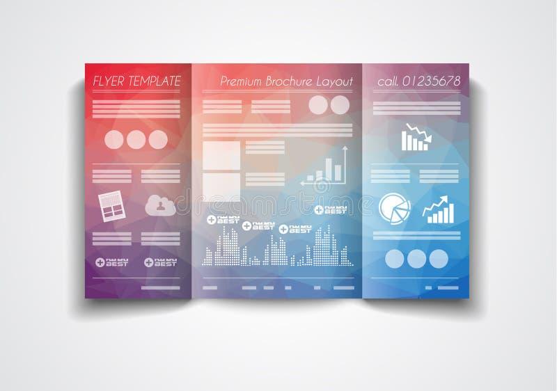 Wektorowy trifold broszurka szablonu projekt lub ulotka układ ilustracji