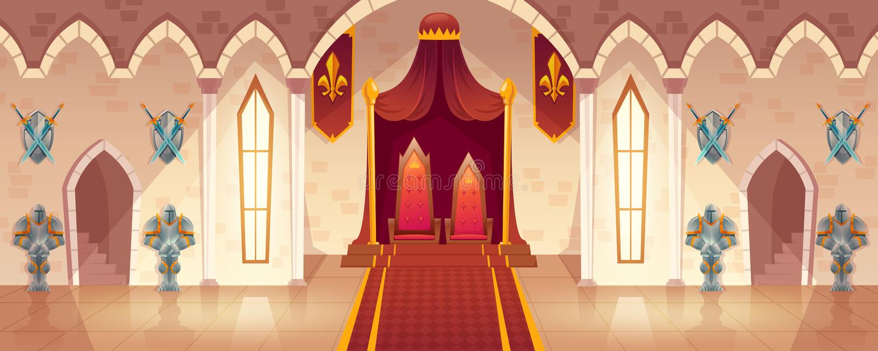 Wektorowy tronowy pokój w średniowiecznym pałac, grodowa sala royalty ilustracja