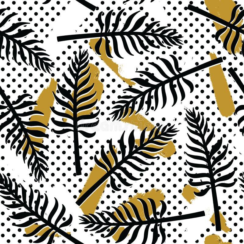 Wektorowy tropikalny bezszwowy wzór z egzot roślinami na prostym abstrakcjonistycznym tle ilustracji