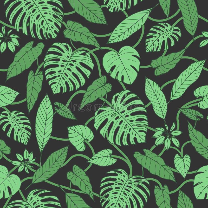 Wektorowy tropikalny bezszwowy wzór z monstera i banana liśćmi ilustracja wektor