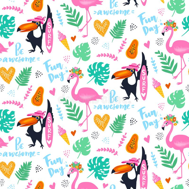 Wektorowy tropikalny bezszwowy wzór z różowym flamingiem, pieprzojad, zwrotnik opuszcza egzotyczne tło ilustracja wektor